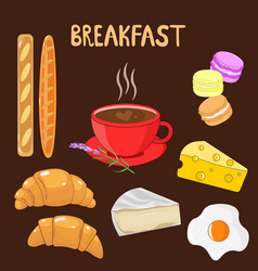 bright beautiful set with food breakfast set vector image