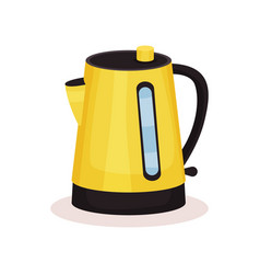 bright yellow electric kettle vessel used for vector image
