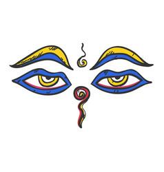 buddha wisdom eyes buddhism icon flat web sign vector image