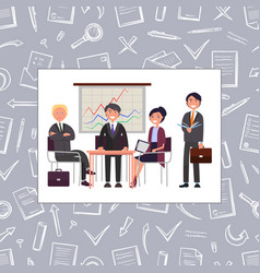 Business meeting of people seamless pattern vector