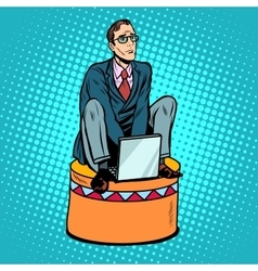 Businessman worker on a circus pedestal vector