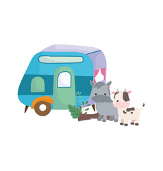 camping trailer and cute horse cow cartoon animals vector image
