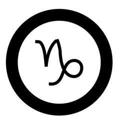 Capricorn symbol zodiac icon black color in round vector