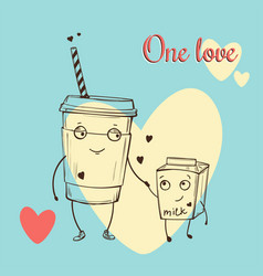 Card with cute cappuccino and milk characters in vector