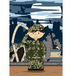 Cartoon army soldier scene vector