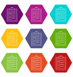 checklist icons set 9 vector image