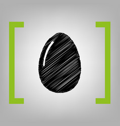chiken egg sign black scribble icon in vector image