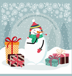christmas card with snowman and gift boxes vector image
