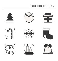 christmas holiday thin line silhouette icons set vector image vector image