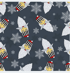 Christmas pattern of the heads of the prison santa vector