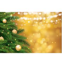 christmas tree with gold blur bokeh lights vector image