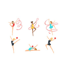 colection gymnast girls in leotards performing vector image