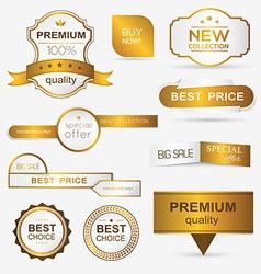 Collection golden premium promo sealsstickers vector