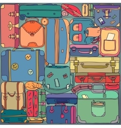 collection vintage travel suitcases vector image