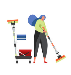 Commercial cleaning services flat isolated vector