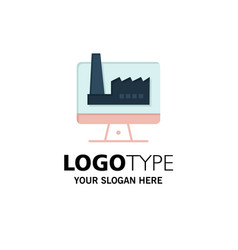 Computer building monitor factory business logo vector