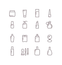 Cosmetic package bottles thin outline icons vector