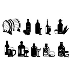 Different types of alcoholic drinks vector