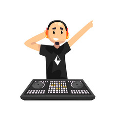 dj in headphones playing music on mixer console vector image