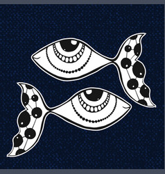 Doodle sticker fishes horoscope sing zodiac vector