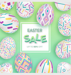 easter background with 3d ornate eggs on green vector image