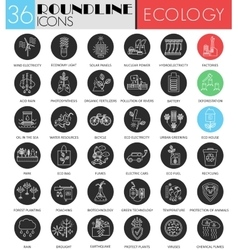 Ecology circle white black icon set Modern vector