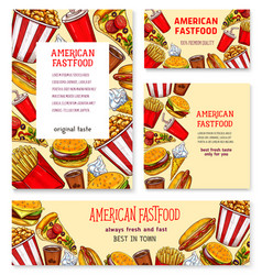 fast food american restaurant banner template set vector image