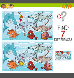Find differences with fish sea life characters vector