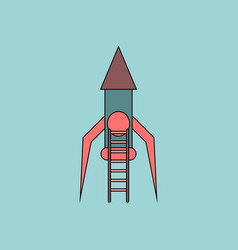 Flat icon design collection rocket and ladder vector