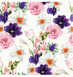 floral seamless pattern with spring flowers vector image