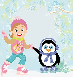 Girl and penguin ice skating vector