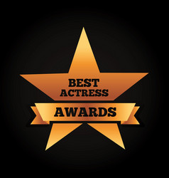 gold star award best actress winner ribbon vector image