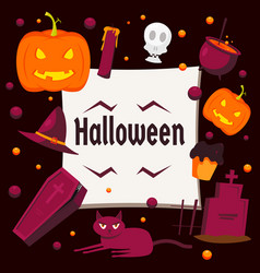 halloween day concept background flat style vector image