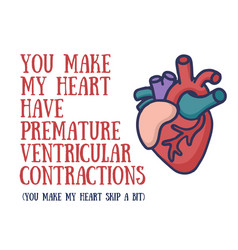 hand-drawn doodle human heart with text vector image