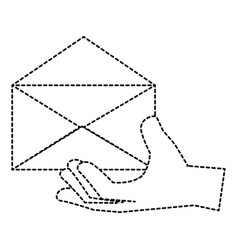 hand human with envelope mail isolated icon vector image