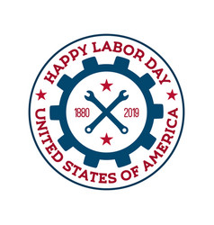 happy labor day badge national us holiday vector image