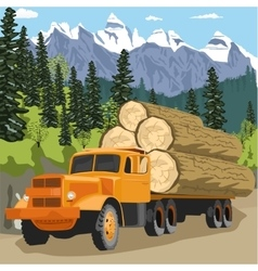 Heavy loaded logging truck in forest in mountains vector
