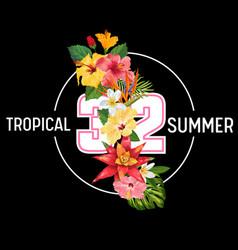 hello summer design tropical hibiscus flowers vector image