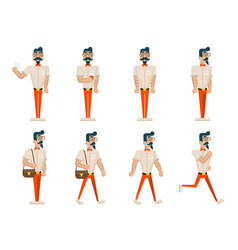 Hipster geek in different poses mobile vector