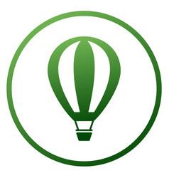 Hot air balloon flat icon with green circle vector