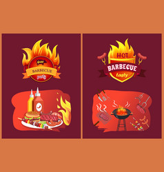 Hot barbecue tasty party set vector