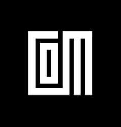 Initial letter com logo emblem square shape vector