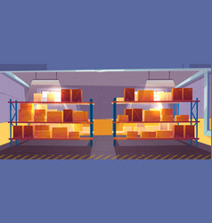 Inner view warehouse interior logistics stock vector