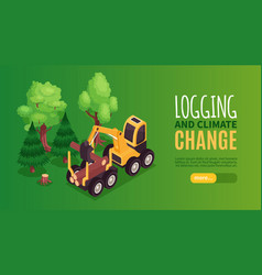 Isometric logging horizontal banner vector
