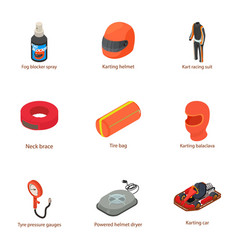 karting icons set isometric style vector image
