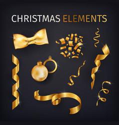kit of golden celebration decor elements luxury vector image