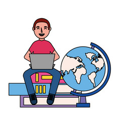 man with laptop books and globe education school vector image