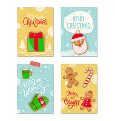 merry christmas poster with greetings cookies vector image