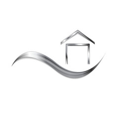 Metallic logo with wave and house symbol vector image