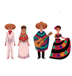 Mexican people men and women in traditional vector